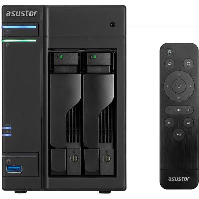 """2-bay NAS Server  ASUSTOR """"AS6302T"""", Intel Celeron J3355 (Dual-Core) 2.0-2.5GHz, 2GB DDR3L(1GB x2, Max. 8G), 2.5""""/3.5""""SATA x2 (Hot Swap), USB3.0 x4 (Type A x3, Type C x1), Gigabit LAN x2, HDMI, S/PDIF, WOW, AES-NI, HT, IR, Surveillance"""