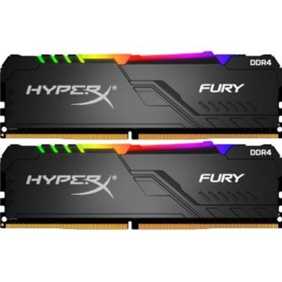 16GB (Kit of 2*8GB) DDR4-3466  Kingston HyperX® FURY DDR4 RGB, PC27700, CL16, 1.2V, Auto-overclocking, Asymmetric BLACK heat spreader, Dynamic RGB effects featuring HyperX Infrared Sync technology, Intel XMP Ready  (Extreme Memory Profiles)