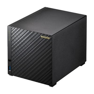 "4-bay NAS Server  ASUSTOR ""AS1004T v2"", New Marvell Armada-385 (Dual-Core) Cortex-A9 1.6GHz, 512MB DDR3, 3.5"" SATAIII x4, USB 3.1 Gen-1 x2, Gigabit LAN x1, WOL, Firewall, VPN/HTTPS, Hardware Encryption Engine, Toolless, Surveillance:<8 (4 F"
