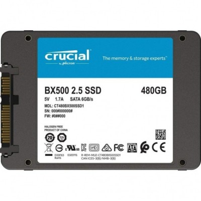 """2.5"""" SSD 480GB  CRUCIAL BX500, SATAIII, SeqReads: 540 MB/s, SeqWrites: 500 MB/s,  7mm, Controller SMI SM2258XT, Micron's 64-layer 3D NAND TLC"""