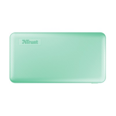 10000mAh Power bank - Trust Primo, Mint, Fast-charge with maximum speed via USB-C (15W) or USB-A (12W). Charging speed varies between devices