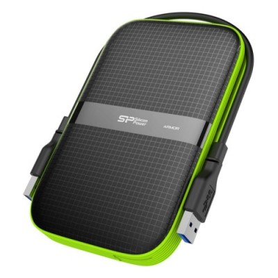 """2.5"""" External HDD 2.0TB (USB3.1)  Silicon Power Armor A60, Black\Green, Rubber + Plastic, Military-Grade Protection MIL-STD 810G, IPX4 waterproof, Advanced internal suspension system keeps the hard drive safe from drops and bumps"""