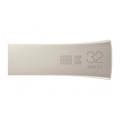 32GB USB3.1  Samsung Bar Plus, Silver, Durable zinc alloy, Metal casing is shock / water / X-Ray resistant (Read 200 MByte/s, Write 50 MByte/s)