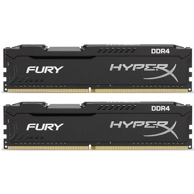 32GB (Kit of 2*16GB) DDR4-3466  Kingston HyperX® FURY DDR4, PC27700, CL17, 1.35V, Auto-overclocking, Asymmetric BLACK heat spreader, Intel XMP Ready  (Extreme Memory Profiles)