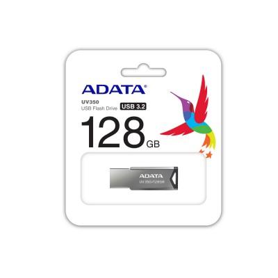 """128GB USB3.1 Flash Drive ADATA """"UV350"""", Silver, Metal Case, Slim Capless, Keychain (R/W:60/30MB/s)"""