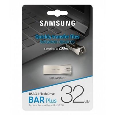 "32GB USB3.1 Flash Drive Samsung Bar Plus ""MUF-32BE3/APC"", Silver, Metal Case (R:200MB/s)"