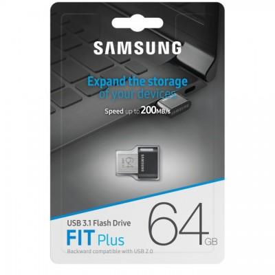"""64GB USB3.1 Flash Drive Samsung FIT Plus """"MUF-64AB/APC"""", Grey, Plastic Case (R:200MB/s)"""