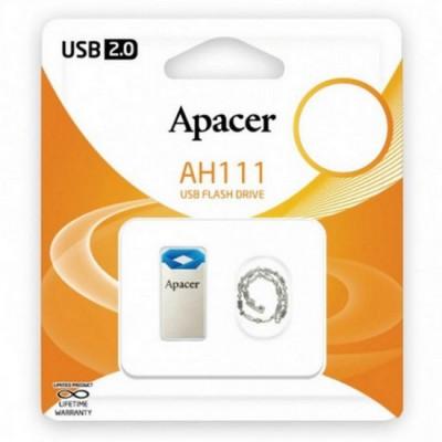 "32GB USB2.0 Flash Drive Apacer ""AH111"", Silver-Blue, Super-Mini, Metal, Capless (AP32GAH111U-1)"