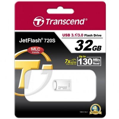 """32GB USB3.1 Flash Drive Transcend """"JetFlash 720S"""", Silver, Metal Case, COB (MLC , R/W:130/45MB/s)"""