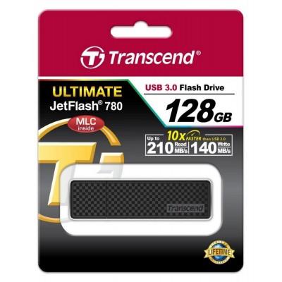 """128GB  USB3.1 Flash Drive Transcend """"JetFlash 780"""", Black, Classic, Endurance MLC (R/W:210/140MB/s)"""