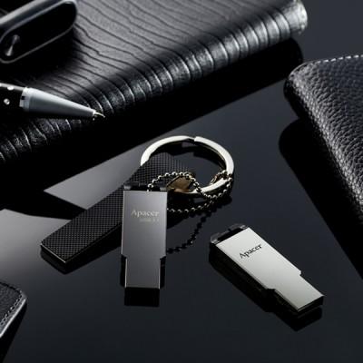 "16GB USB3.1 Flash Drive Apacer ""AH360"", Black Nickel, Slim Metallic, Capless (AP16GAH360A-1)"