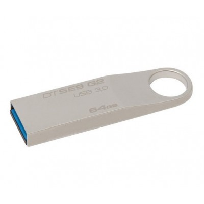 "64GB USB3.1 Flash Drive Kingston DataTravaler ""SE9 G2"", Silver, Metal Case, Key Ring (DTSE9G2/64GB)"