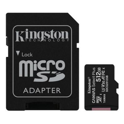 "512GB MicroSD (Class 10) UHS-I (U3) +SD adapter, Kingston Canvas Select+ ""SDCS2/512GB"" (100/85MB/s)"