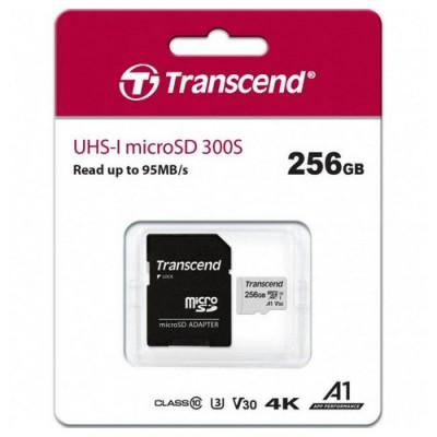 """256GB MicroSD (Class 10) UHS-I (U3)+SD adapter, Transcend """"TS256GUSD300S"""" (R/W:95/40MB/s)"""