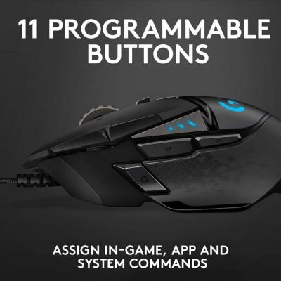 Wireless Gaming Mouse Logitech G502, Optical 100-25600 dpi 11 buttons, RGB, Adjj. Weight, Black USB